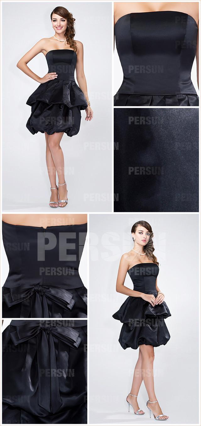 petite robe noire bustier droit en satin pour cocktail