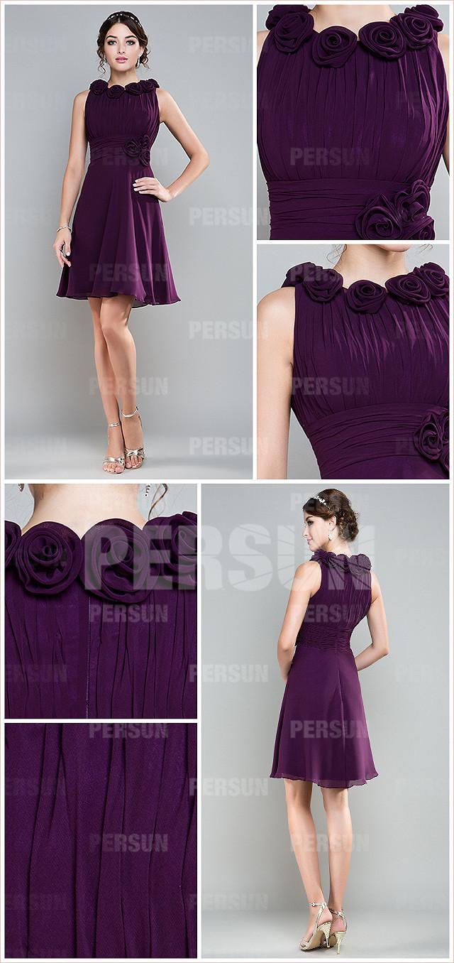 simple robe de soirée violette encolure ovale orné de fleurs