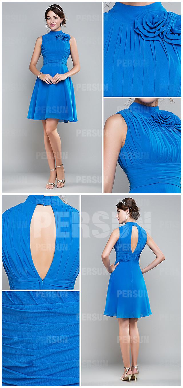 simple robe de soirée bleu courte pour mariage à col haut dos découpé