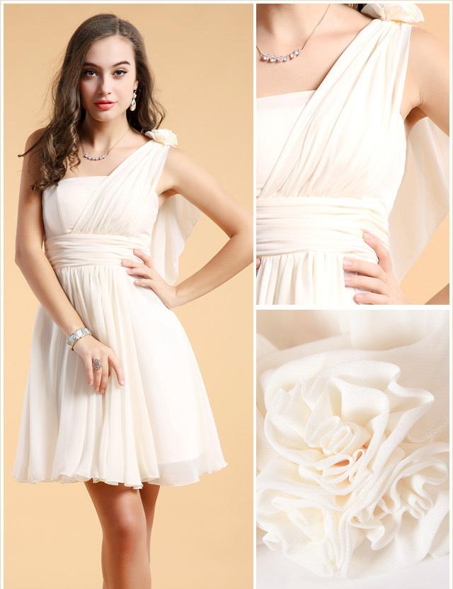 tenue robe de soirée courte blanche asymétrique