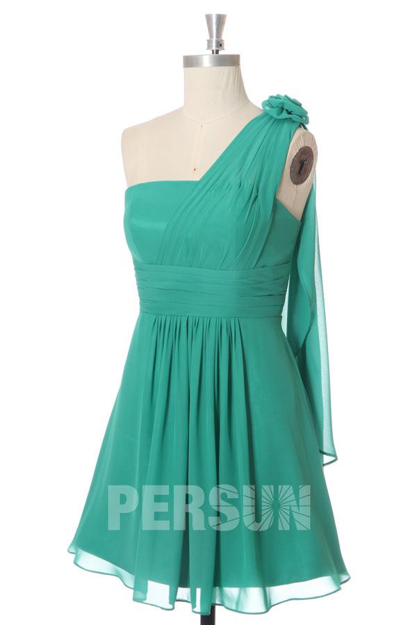 Robe demoiselle honneur verte courte asymétrique
