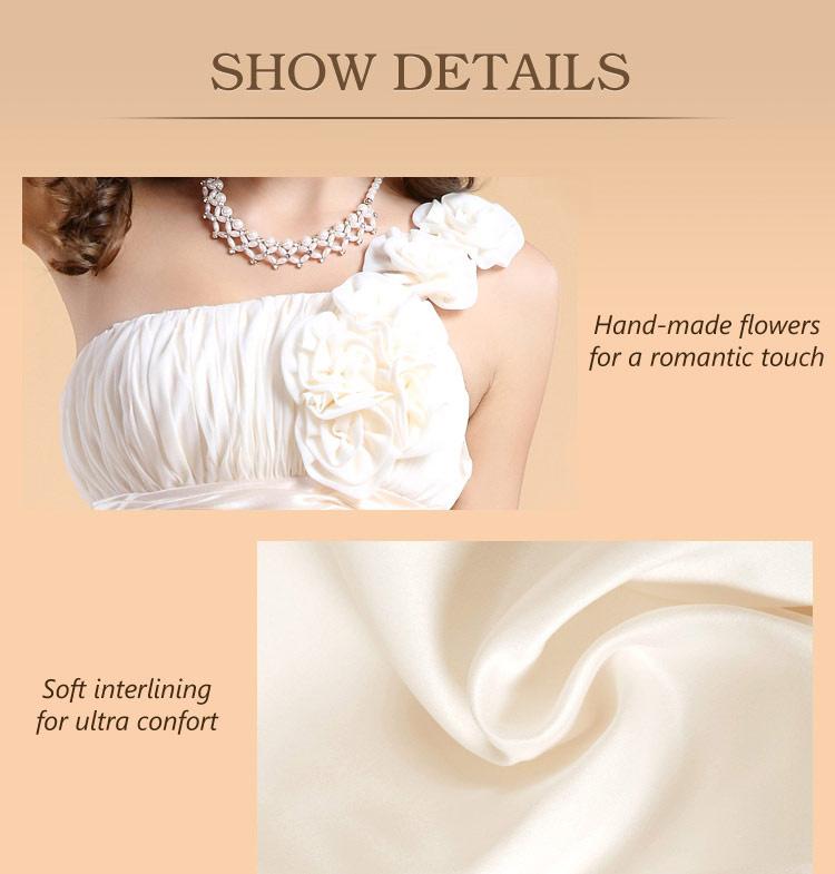 robe blanche pour cocktail bsutier plissé à fleurs faites à la main sur épaule en mousseline