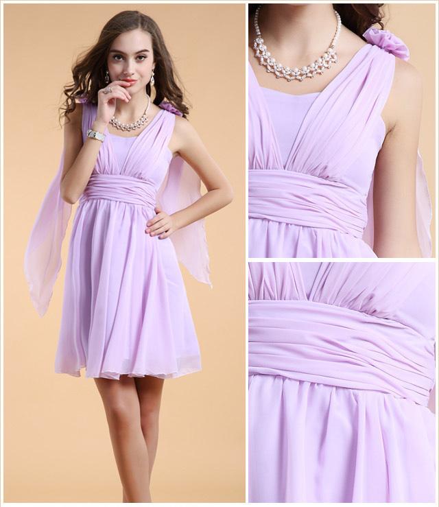 Tendance robe violette courte col V pour soirée