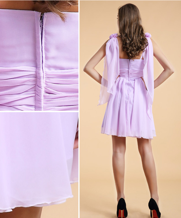 Robe chic violette pas cher ornée de fleurs en mousseline
