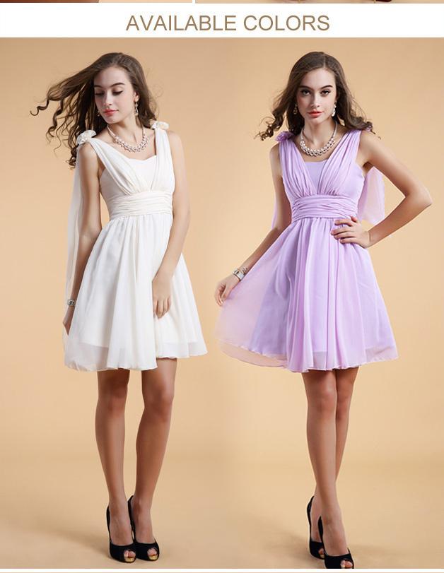 Robe de violet  et blanche col V pour cortège mariage