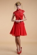 Chic Red A Line High Neck Flower Lace Knee Length Evening Dress