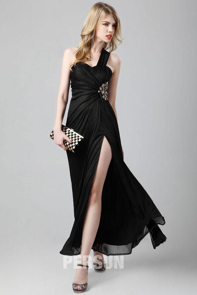 Robe cocktail longue noire fendue