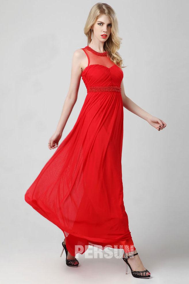 Robe rouge habillée plissée encolure illusion empire avec strass
