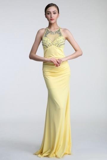 robe de soirée jaune fourreau embelli de strass