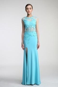 Robe de soirée sexy bleu turquoise fendue appliquée de dentelle guipure