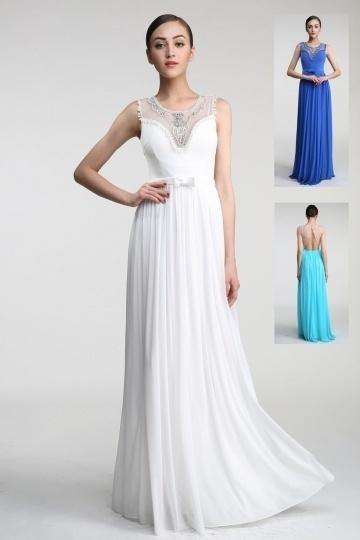 Robe longue blanche pour soirée de mariage encolure perlée dos découpé