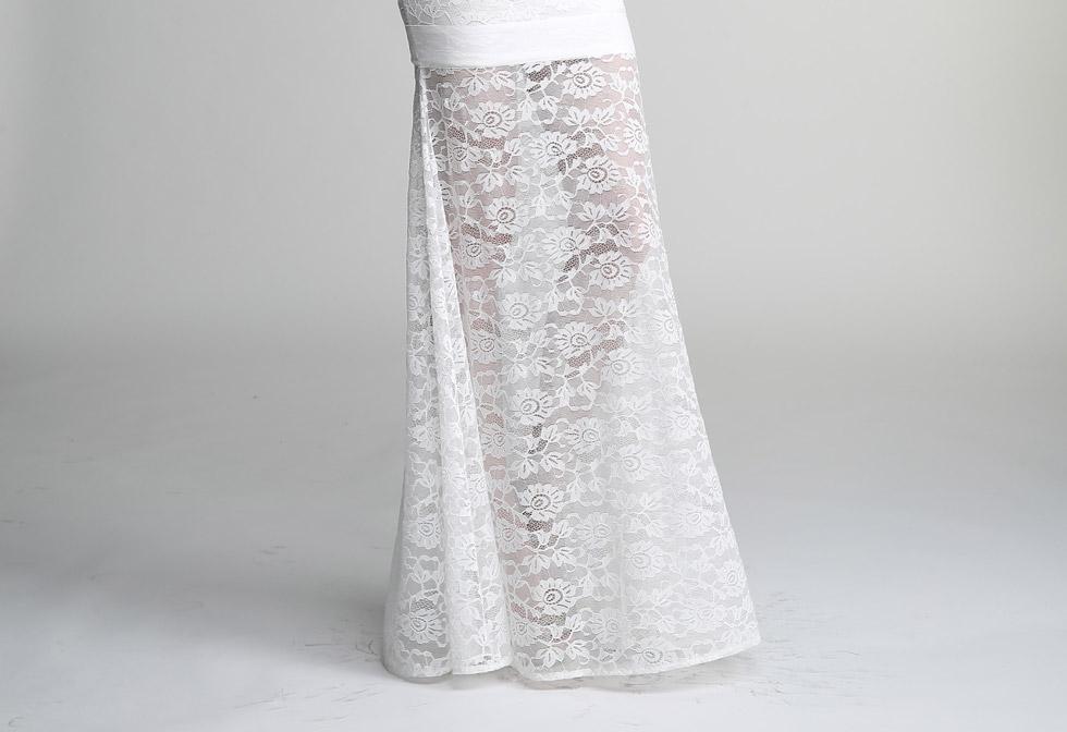 robe de mariée à jupe en dentelle florale