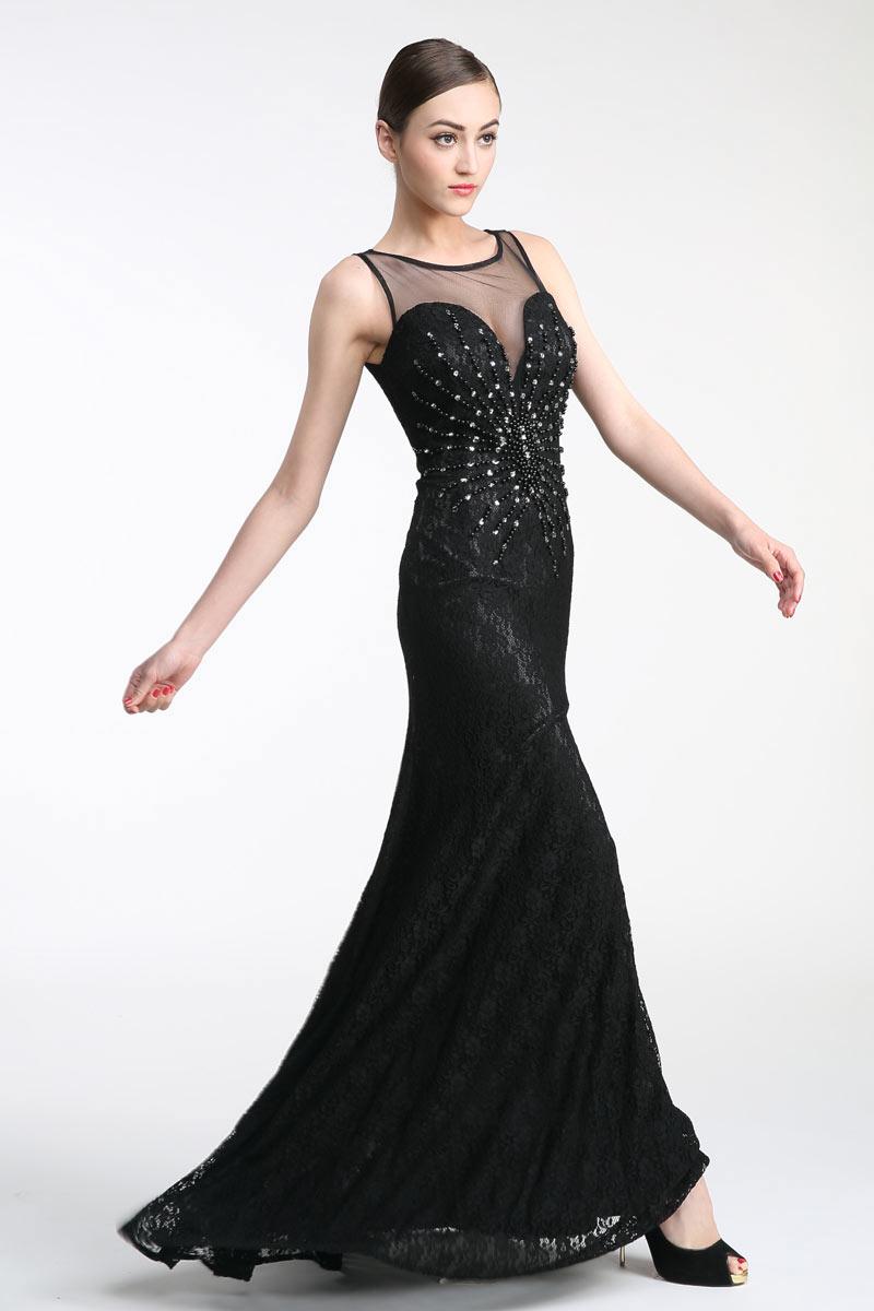 Sexy robe de soirée dentelle noire encolure illusion orné de perles