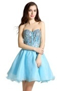 Gorgeous Sweetheart Organza Blue A Line Short Formal Bridesmaid Dress