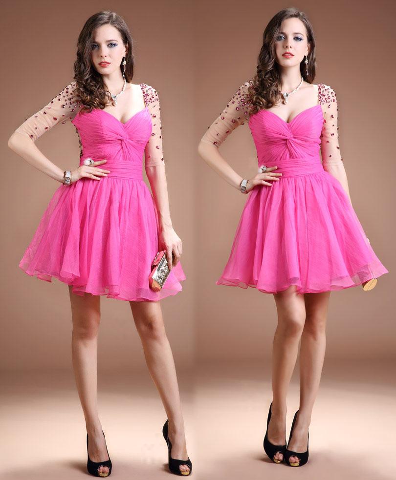 robe de soirée courte rose bustier coeur plissé à manche courte transparente embelli de strass
