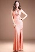 Modern Mermaid Orange Lace High Neck Long Beading Evening Dress