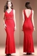 Sexy Red Mermaid V Neck Beading Long Evening Dress