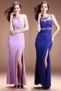 Modern Sheath Scoop Lace Long Empire Evening Dress