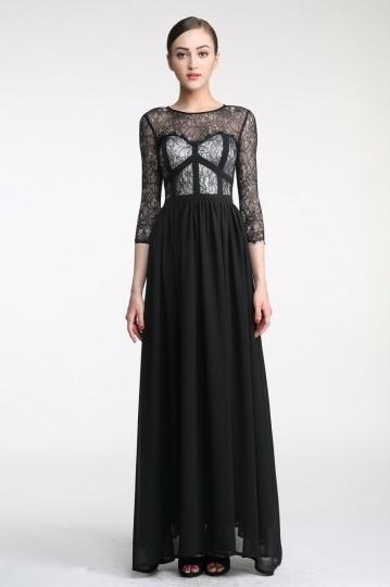 Abendkleid schwarz mit armeln