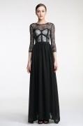 Elegant A-Linie schwarz lang Spitze Abendkleider mit Ärmeln