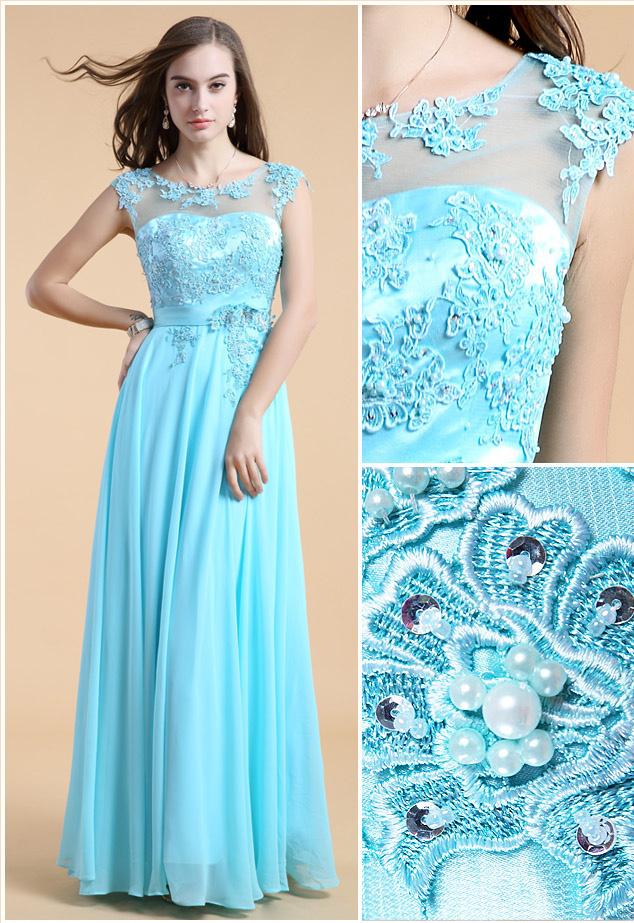 robe de bal longue en mousseline turquoise col illusion