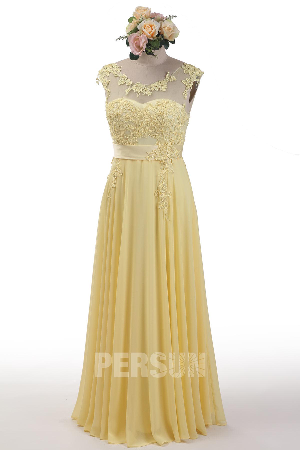 robe de soirée jaune longue col illusion en dentelle appliquée