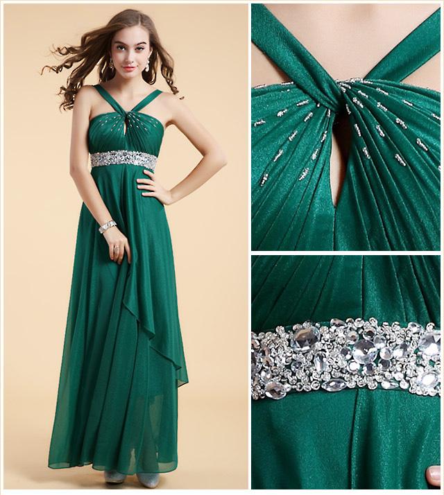 robe sexy vert émeraude à haut brodé de sequins