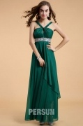 Chic Green Long A Line Chiffon Empire Formal Bridesmaid Dress With Straps
