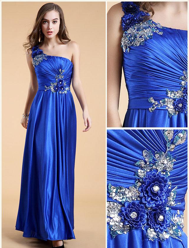 robe de soirée bleu asymétrique bustier plissé & bijouté