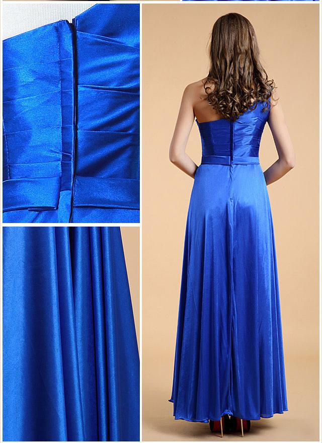 robe bleu mariage longue asymétrique dos avec zipper