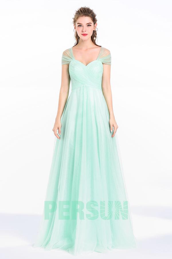 robe de cocktail longue vert menthe simple bustier coeur mancheron transparente