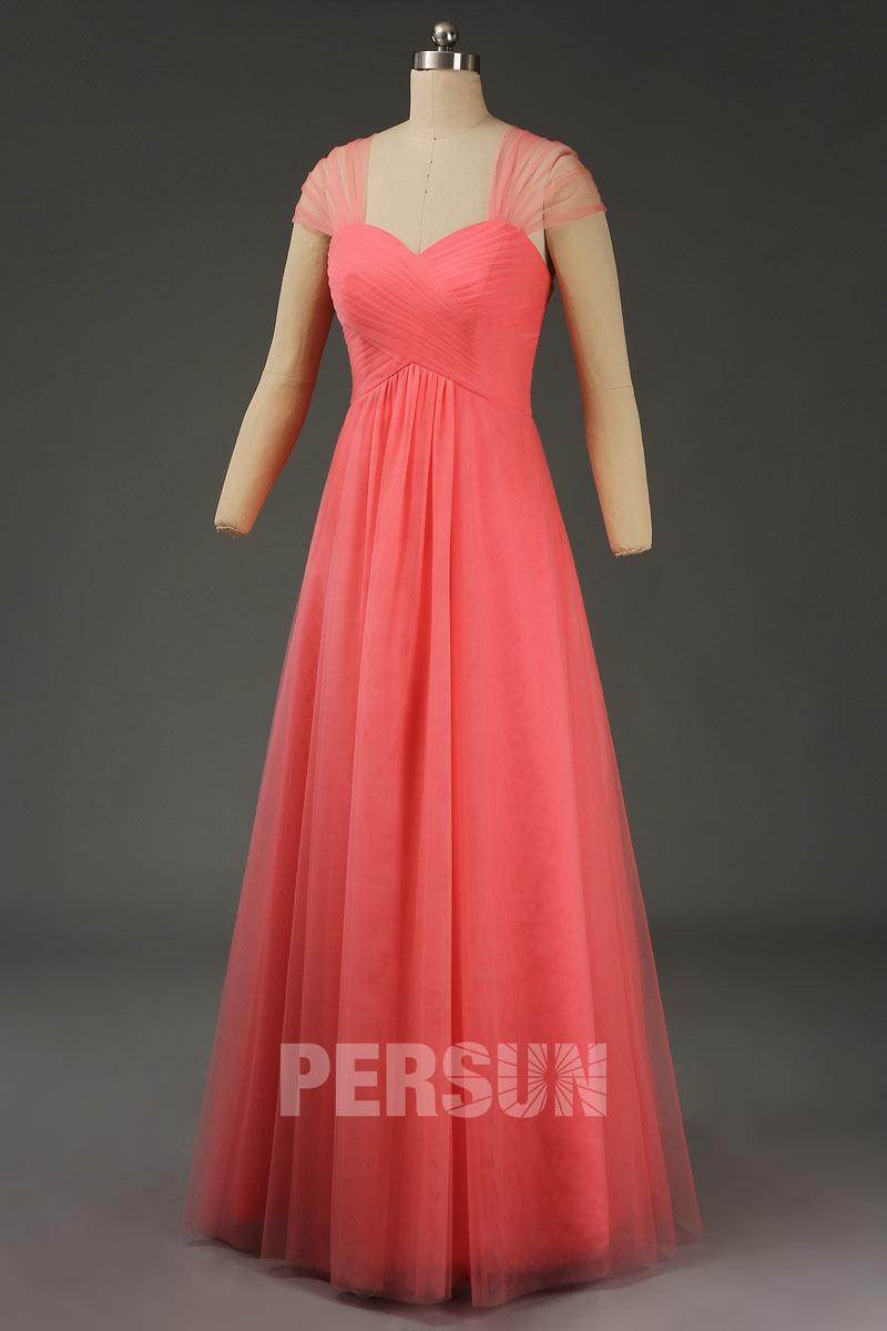 robe demoiselle d'honneur corail longue en tulle avec bretelle convertible