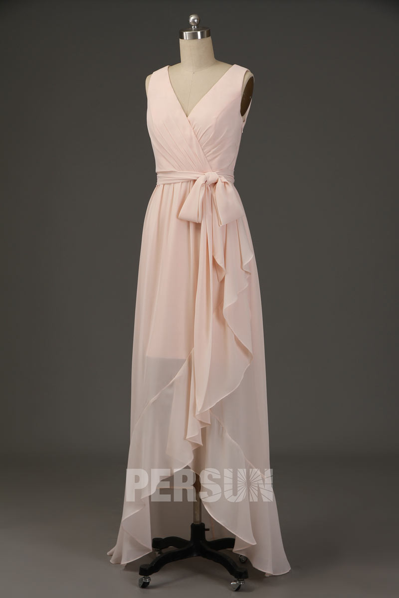 Robe de cocktail unie cache-coeur nude rose pâle mousseline