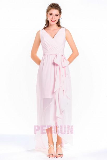 robe de cocktail longue rose bustier cache coeur ceinturé ruban orné de noeud papillon jupe transparente