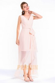 Robe cocktail mariage cache coeur couleur nude clair bascule
