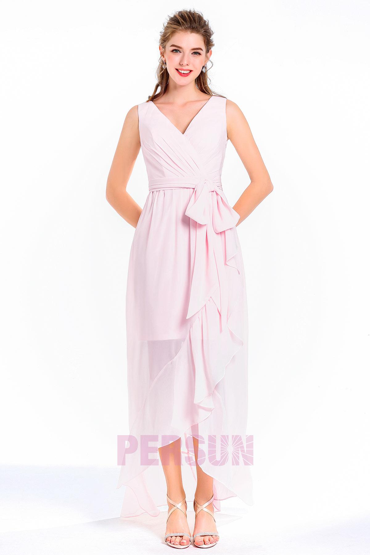 robe cocktail mariage cache coeur lilas clair bascule
