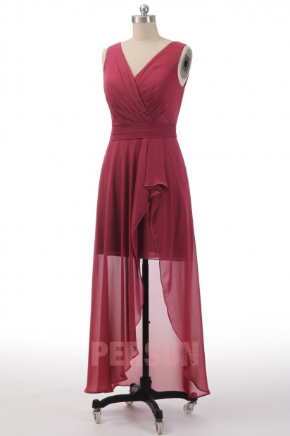 Robe cocktail bascule vieux rose cache coeur en mousseline