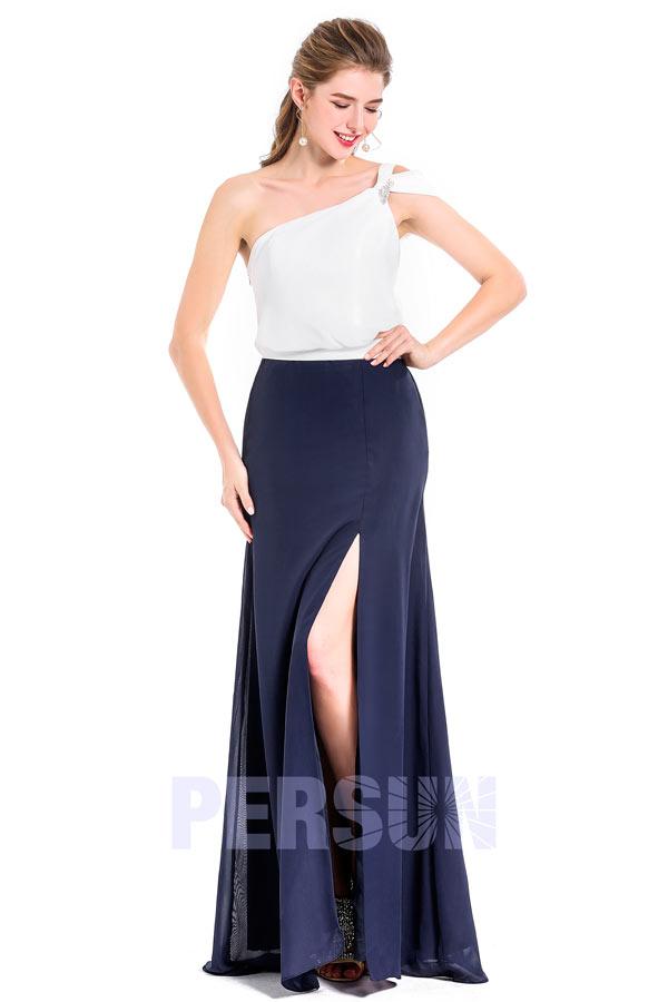 Robe de soirée chic asymétrique bicolore blanc cassé & bleu nuit