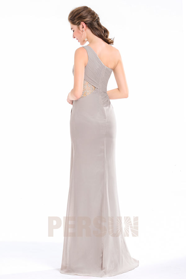 Robe longue de gala col asymétrique fendue & taille appliquée dentelle