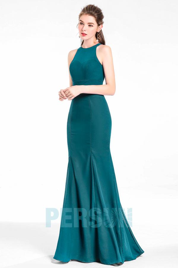 Robe longue encolure illusion sans manches sirène pour soirée mariage
