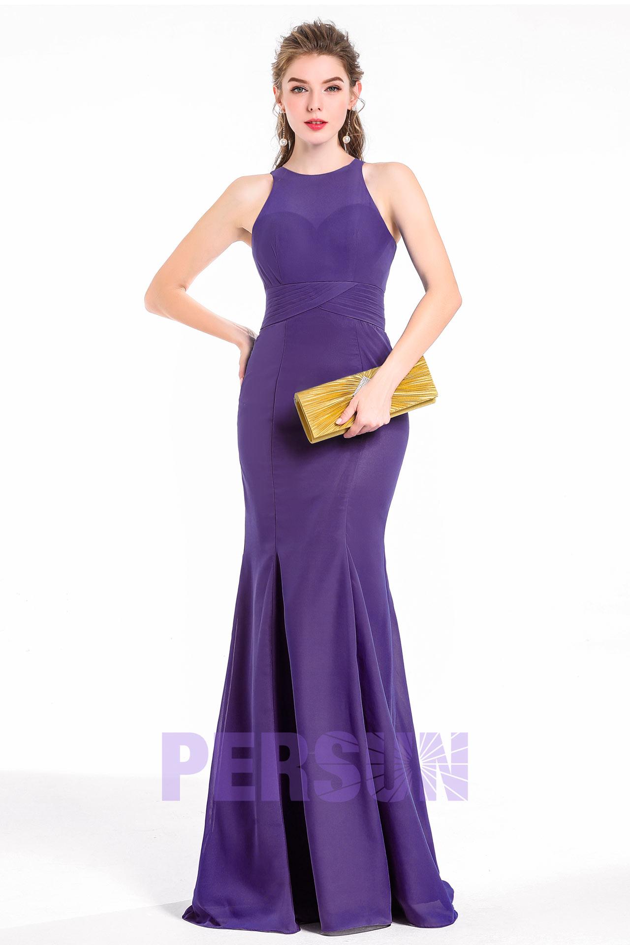 simple robe soirée mariage invité sirène couleur améthyste