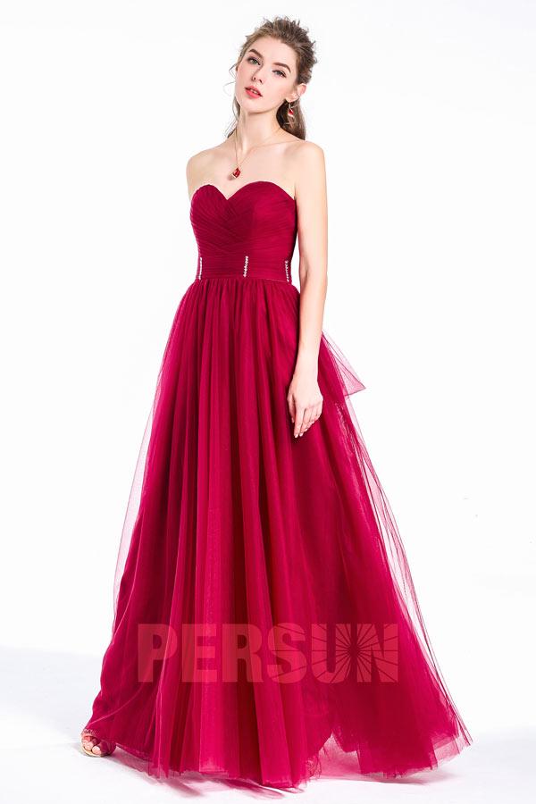 robe demoiselle d'honneur bourgogne longue bustier coeur taille ornée de strass