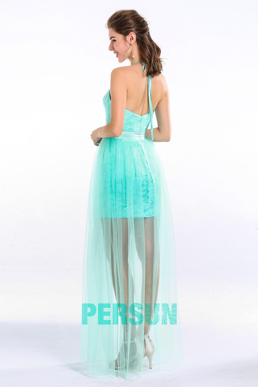 Robe flatteuse turquoise cocktail col en V  aux bretelles fines & jupe moulante