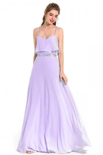 Robe longue bleu clair fumé bustier volanté pour soirée de mariage