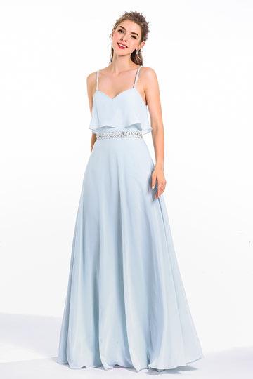 508d0197a4e Robe longue bleu clair fumé bustier volanté pour soirée de mariage