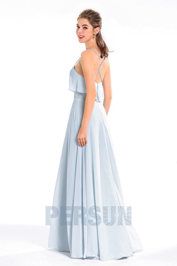 Femme robe maxi soirée décolletée en coeur aux bretelles avec ceinture parée de paillettes