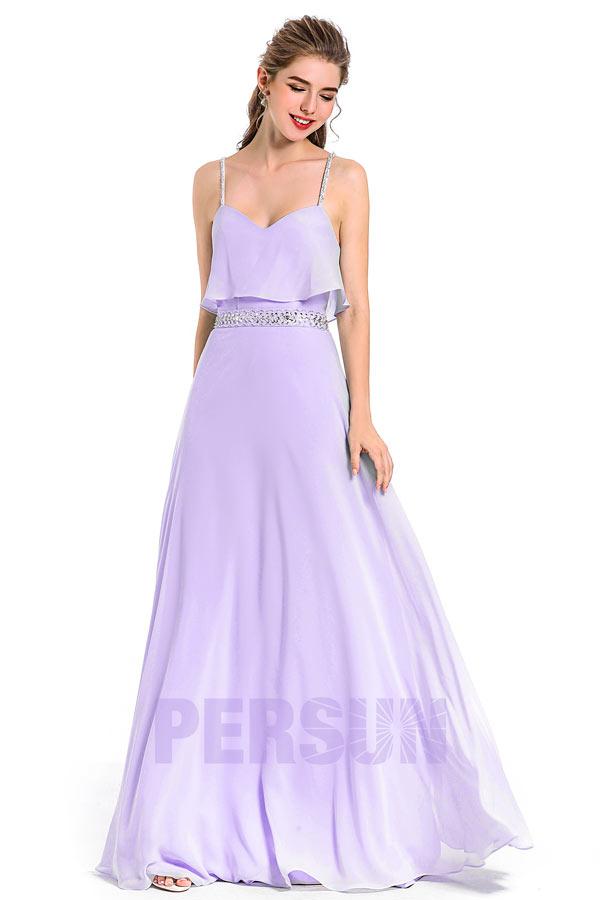 robe de cocktail longue lilas bustier à volant taille embelli de strass avec bretelles fines