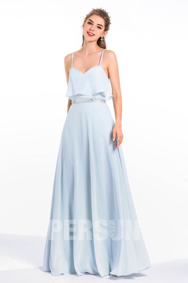 robe demoiselle honneur longue bleu bustier à volant à bretelle fine ornée bijoux