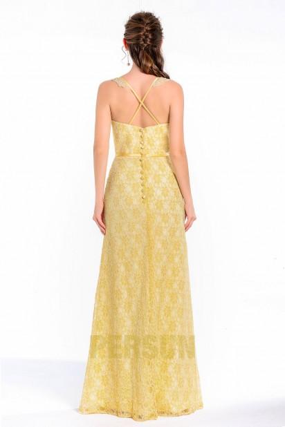 f1655e1baf Vintage Robe longue de soirée de mariage dentelle jaune poussin ...