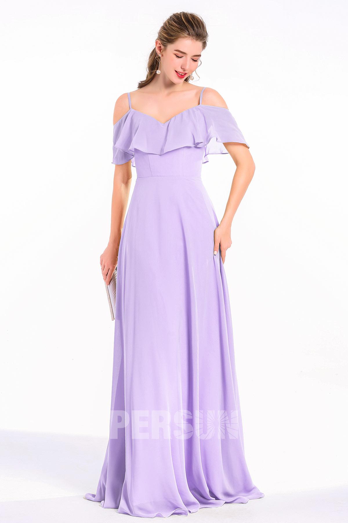 robe de soirée longue lilas bustier à volants avec bretelle fine